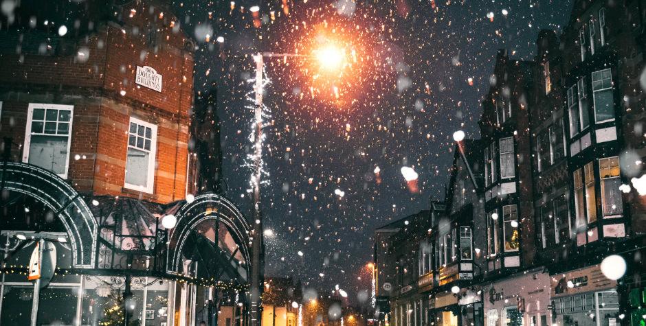 Snow falling in London